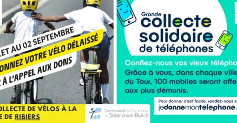 Grandes collectes solidaires avec le Tour de France : donnez vos vélos délaissés ou vos téléphones usagés !